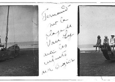 Les enfants sur la plage de San Sy avec les enfants de M. Boyer, s.d.